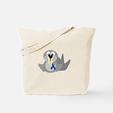 Blue Awareness Ribbon Goofkins Walrus Tote Bag