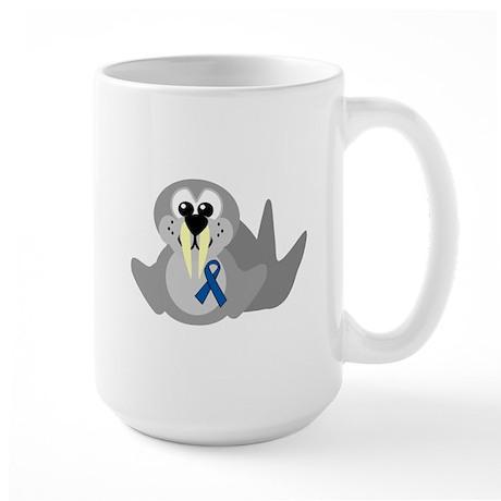Blue Awareness Ribbon Goofkins Walrus Large Mug