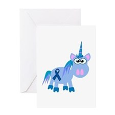 Blue Awareness Ribbon Goofkins Unicorn Greeting Ca