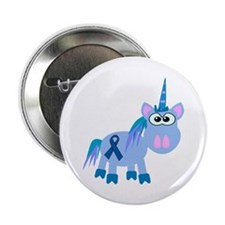 "Blue Awareness Ribbon Goofkins Unicorn 2.25"" Butto"
