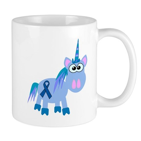 Blue Awareness Ribbon Goofkins Unicorn Mug