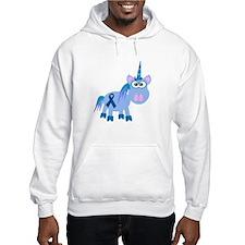 Blue Awareness Ribbon Goofkins Unicorn Hoodie