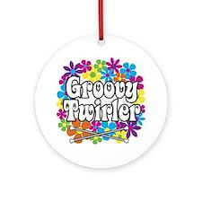 Groovy Twirler Ornament (Round)