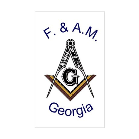 Georgia Square and Compass Rectangle Sticker