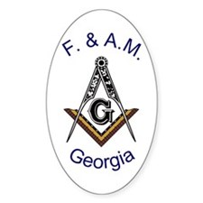 Georgia Square and Compass Oval Decal
