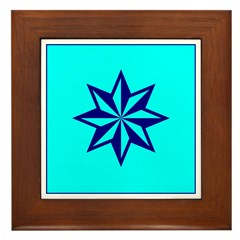 Blue Guiding Star Framed Tile