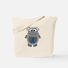 Blue Awareness Ribbon Goofkin Rhino Tote Bag