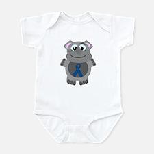 Blue Awareness Ribbon Goofkin Rhino Infant Bodysui