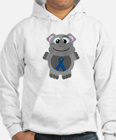 Blue Awareness Ribbon Goofkin Rhino Jumper Hoody