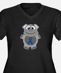 Blue Awareness Ribbon Goofkin Rhino Women's Plus S