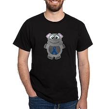 Blue Awareness Ribbon Goofkin Rhino T-Shirt