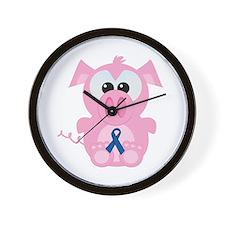 Blue Awareness Ribbon Goofkins Piggy Pig Wall Cloc
