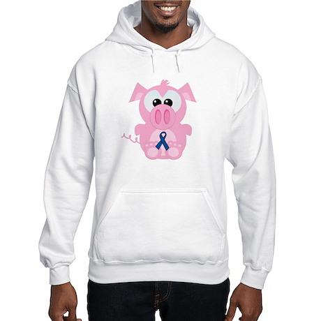 Blue Awareness Ribbon Goofkins Piggy Pig Hooded Sw