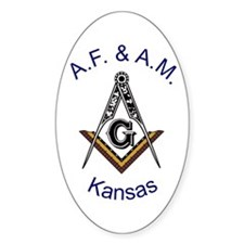 Kansas Square and Compass Oval Decal