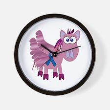 Blue Awareness Ribbon Goofkins Pegasus Wall Clock