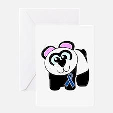 Blue Awareness Ribbon Goofkins Panda Greeting Card