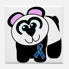 Blue Awareness Ribbon Goofkins Panda Tile Coaster