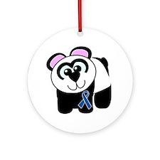 Blue Awareness Ribbon Goofkins Panda Ornament (Rou