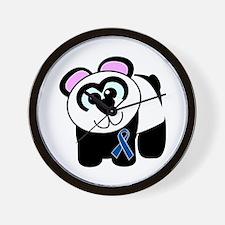 Blue Awareness Ribbon Goofkins Panda Wall Clock