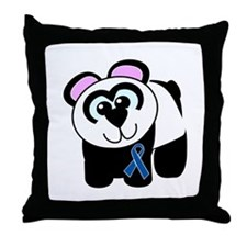 Blue Awareness Ribbon Goofkins Panda Throw Pillow