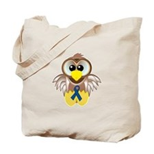 Blue Awareness Ribbon Goofkins Owl Tote Bag