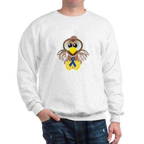 Blue Awareness Ribbon Goofkins Owl Sweatshirt