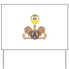 Blue Awareness Ribbon Goofkins Ostrich Yard Sign
