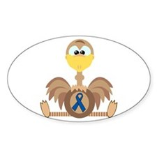 Blue Awareness Ribbon Goofkins Ostrich Decal