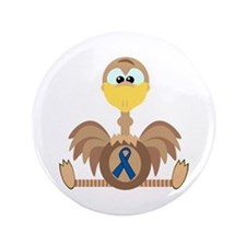 "Blue Awareness Ribbon Goofkins Ostrich 3.5"" Button"