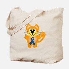 Blue Awareness Ribbon Goofkins Kitty Cat Tote Bag
