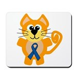 Blue Awareness Ribbon Goofkins Kitty Cat Mousepad