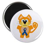 Blue Awareness Ribbon Goofkins Kitty Cat Magnet