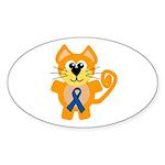 Blue Awareness Ribbon Goofkins Kitty Cat Sticker (