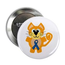 "Blue Awareness Ribbon Goofkins Kitty Cat 2.25"" But"