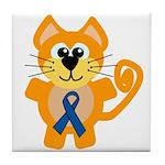 Blue Awareness Ribbon Goofkins Kitty Cat Tile Coas