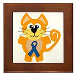 Blue Awareness Ribbon Goofkins Kitty Cat Framed Ti