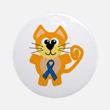 Blue Awareness Ribbon Goofkins Kitty Cat Ornament