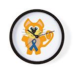 Blue Awareness Ribbon Goofkins Kitty Cat Wall Cloc