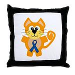 Blue Awareness Ribbon Goofkins Kitty Cat Throw Pil