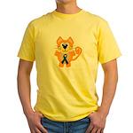 Blue Awareness Ribbon Goofkins Kitty Cat Yellow T-