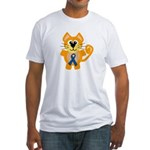Blue Awareness Ribbon Goofkins Kitty Cat Fitted T-