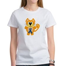 Blue Awareness Ribbon Goofkins Kitty Cat Tee