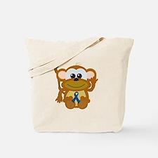 Blue Awareness Ribbon Goofkins Monkey Tote Bag