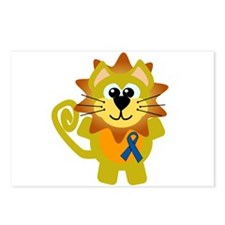 Blue Awareness Ribbon Goofkins Lion Postcards (Pac