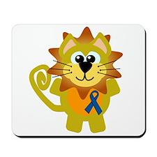 Blue Awareness Ribbon Goofkins Lion Mousepad