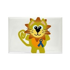 Blue Awareness Ribbon Goofkins Lion Rectangle Magn