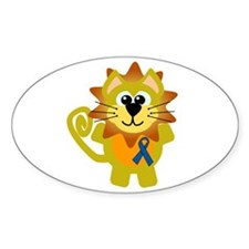Blue Awareness Ribbon Goofkins Lion Oval Decal