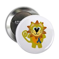 "Blue Awareness Ribbon Goofkins Lion 2.25"" Button"