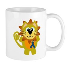 Blue Awareness Ribbon Goofkins Lion Mug