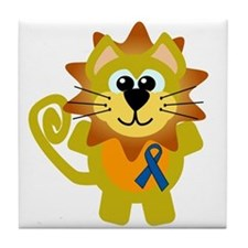 Blue Awareness Ribbon Goofkins Lion Tile Coaster
